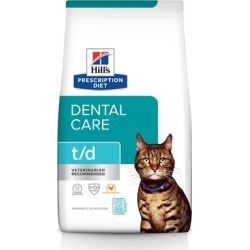 Hill's Prescription Diet t/d Dental Care Dry Cat Food 4 lb Bag, Chicken Flavor found on Bargain Bro Philippines from PetCareRx for $23.99