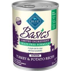 Blue Buffalo Basics Limited Ingredient Grain Free Senior Turkey and Potato Canned Dog Food 12.5-oz, case of 12