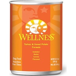 Wellness Canned Dog Food for Adult Dogs Turkey & Sweet Potato Recipe 12.5oz cans/case of 12