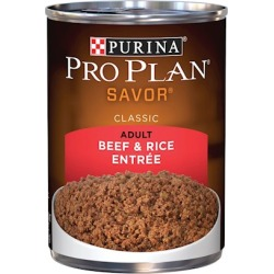 Purina Pro Plan Savor Adult Beef and Rice Entree Canned Dog Food 13-oz, case of 12