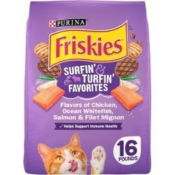 Friskies Surfin andTurfin Favorites Dry Cat Food 16-lb