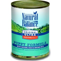 Natural Balance Original Ultra Whole Body Health Chicken, Duck and Brown Rice Puppy Formula Canned Dog Food 6-oz, case of 12
