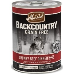 Merrick Backcountry Grain Free Chunky Beef Canned Dog Food 12.7-oz, case of 12