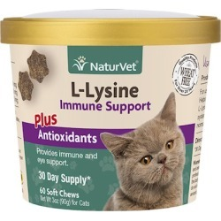 NaturVet L-Lysine Immune Support Plus Antioxidants Soft Chews for Cats 60-ct
