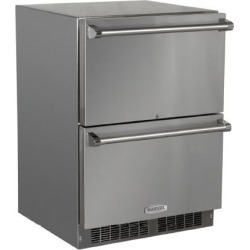Marvel 24-Inch Built-In Outdoor Refrigerated Drawers - Stainless Steel - MO24RDS3NS