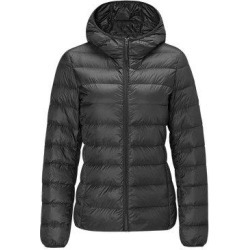 Women's Lightweight Slim-fit Down Jacket, Black / M / With cap