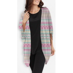Cocoon Wrap - Pastel Dash Stripes in Blue/Brown/Pink by VIDA Original Artist found on MODAPINS from SHOPVIDA for USD $110.00