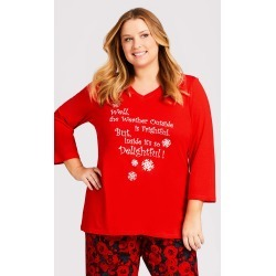 AVENUE Slogan Sleep Top Sleepwear in Red Size 22-24 found on Bargain Bro India from CoEdition for $14.50
