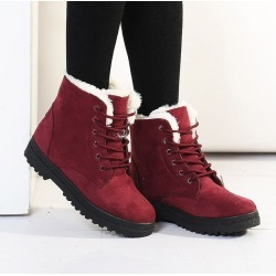Costbuys  Winter snow boots women velvet warm women ankle boots lace-up heels boots winter shoes woman - Red / 5