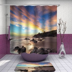 Fire Skies over the Beach Shower Curtain found on Bargain Bro India from Simply Wholesale for $62.17