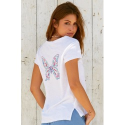 Butterfly Embroidered Organic Cotton T-shirt White/Multi - White/Multi / S found on Bargain Bro UK from ASPIGA