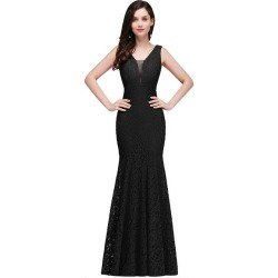 Costbuys  Sexy V-Neck Backless Mermaid Lace Evening Dresses Long Cheap Floor Length Evening Gowns - Black / 14 found on Bargain Bro India from cost buys for $299.99