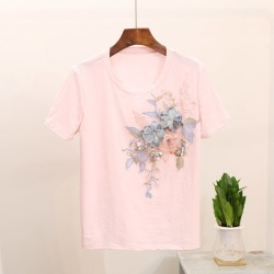 Costbuys  2Pcs Tshirts Summer Printing Women T-shirt Three-dimensional Flower Beaded Sequins Perfect Decoration Female Tops - pi found on Bargain Bro India from cost buys for $93.99