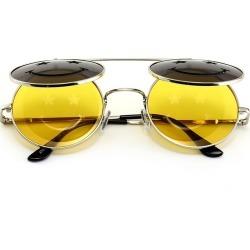 Costbuys  Sunglasses round Designer Metal Smiley Clamshell Sun Glasses OCULOS de sol women COATING SUNGLASSES Men Retro - 6
