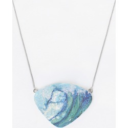 Oversized Statement Pendant - Beach Blue Wave in Blue/Cyan by VIDA Original Artist found on Bargain Bro India from SHOPVIDA for $50.00
