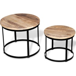 Coffee Table Set 2 Pieces Rough Mango Wood Round 40/50 Cm found on Bargain Bro Philippines from Simply Wholesale for $144.31