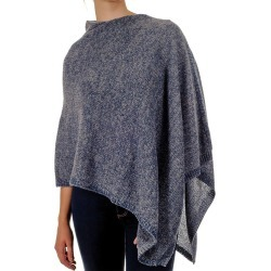 Moss Stitch Blue and Grey Cashmere Poncho found on Bargain Bro from black.co.uk for £98