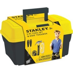 Stanley Jr. 5 Piece Tool Set & and Toolbox Real Tools for Kids