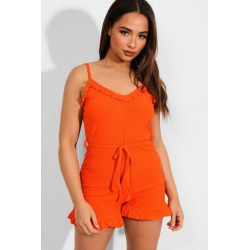 Orange Frill Trims Ribbed Cami Playsuit found on Bargain Bro from SinglePrice for USD $15.25