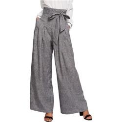 90934e6f831855 Costbuys Wide Leg Pants Women Zipper Fly Loose Trousers Women Grey High  Waist Self Belted Box