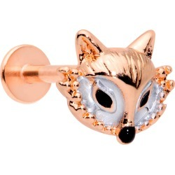 16 Gauge 5/16 Rose Gold Tone Fashion Fox Labret Monroe Tragus From Body Candy found on Bargain Bro India from Body Candy for $10.99