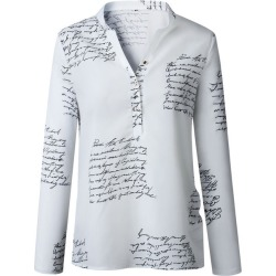 Costbuys  Women V Neck Letters Printing Button Long Sleeve Blouse Shirt clothing woman fashion summer - White / L / United State