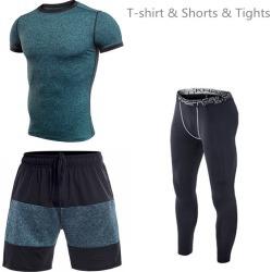 Costbuys  Men Running T-shirt Shorts Tights Shorts Stitching Quick Dry Yoga Sportswear Sport Set Fitness Gym Basketball Jerseys