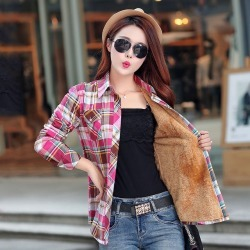 Costbuys  Winter Warm Women Velvet Thicker Jacket Plaid Shirt Style Coat Female College Style Casual Jacket Outerwear - 18 / M