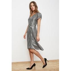 Calina Lamé Wrap Dress (XS), Velvet by Graham & Spencer