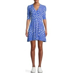 Nicole Miller Pebble Crepe V-Neck Mini Faux Wrap Dress In Watercolor Floral | Polyester/Viscose/Rayon | Size Small found on MODAPINS from Nicole Miller for USD $165.00