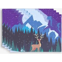 Placemat Set - Winter Deer in Blue/Cyan/Green by Haris Kavalla Original Artist