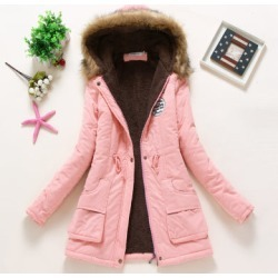 Costbuys  Winter Coat Women Parka Casual Outwear Military Hooded Thickening Cotton Coat Winter Jacket Women Fur Clothes - Pink /