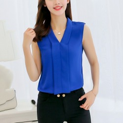 Costbuys  Women Blouse Tops Solid Sleeveless Chiffon V-neck Black White Red Blouse Shirt Office Lady Casual Blusas Summer Clothi found on Bargain Bro India from cost buys for $74.99