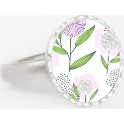 Round Statement Ring - Lilac Flowers in Green/Purple/White by Haris Kavalla Original Artist found on Bargain Bro India from SHOPVIDA for $45.00