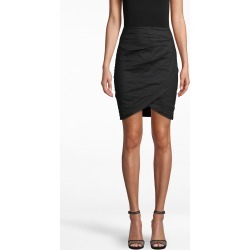 Nicole Miller Cotton Metal Faux Wrap Skirt In Black | Polyester/Spandex/Cotton | Size 14 found on MODAPINS from Nicole Miller for USD $245.00