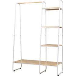Closet Storage Rack Clothes Hanger Shelf Garment Rail Stand White