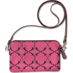 Statement Clutch - Ethno Design Blocks Pink in Brown/Pink/Red by VIDA Original Artist