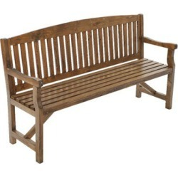 3 Seater Wooden Garden Bench Chair Natural