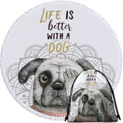 Life is Better With a Dog Beach Towel