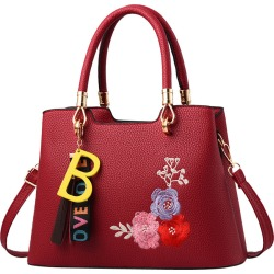 Costbuys  Tassels Flower Women Bag Fashion PU Leather Women's Handbags Top-Handle Bags Tote Women Shoulder Messenger Bag - Red /