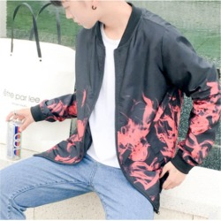 Costbuys  Fashion Spring Autumn Hot Flame Men's Jacket Teen White Red Flame Baseball Clothes - red / XL