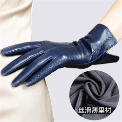 Costbuys  Women Genuine Leather Gloves Female Sheepskin Gloves Spring Autumn Nylon Lined Fashion Trend Mittens - Navy Blue / M