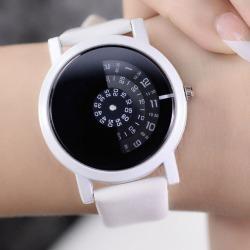 Costbuys  Creative Design Wristwatch Camera Concept Brief Simple Special Digital Discs Hands Fashion Quartz Watches - White