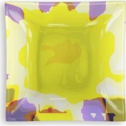 Square Glass Tray - Vibrant-yellow-pattern. in Brown/Orange/Purple by VIDA Original Artist found on Bargain Bro Philippines from SHOPVIDA for $35.00