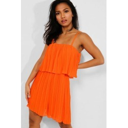 Orange Layered Pleated Cami Playsuit found on Bargain Bro from SinglePrice for USD $17.29