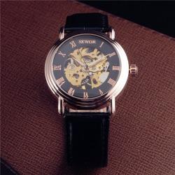 Costbuys  Luxury Mechanical Watches Men Skeleton Dial Clock Roman Casual Wristwatches Relogio Men Mechanical Hand Wind Watch - B