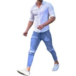 Costbuys  Fashion Men's Stretchy Ripped Skinny Jeans Destroyed Taped Slim Fit Denim Pants Top Quality - Blue / L / China found on Bargain Bro India from cost buys for $80.64