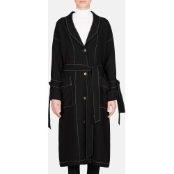 Contrast Stitch Duster Coat - Black found on MODAPINS from The Line LLC for USD $1490.00