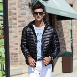 Costbuys  White Duck Down Jacket Men Autumn Winter Warm Coat Men's Light Thin Duck Down Jacket Coats - Black / XL