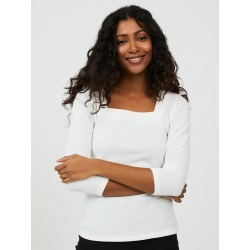 Textured Square Neck Top, Pearl / Large